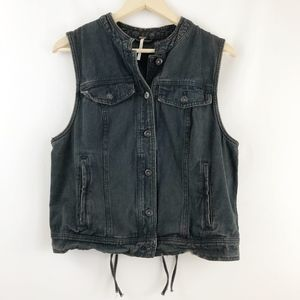 Free People Black Denim Lace Up Back Vest